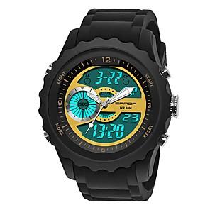 ieftine Brățări-SANDA Bărbați Ceas Sport Ceas digital Japoneză Piloane de Menținut Carnea Silicon Negru 30 m Rezistent la Apă Calendar Cronometru Analog - Digital Lux Modă - Albastru Auriu Verde Închis / Iluminat