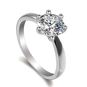 ieftine Inele-Pentru femei Inel Micro inel de pavele 1 buc Argintiu Alamă Placat cu platină Diamante Artificiale Montaj de Șase femei Clasic Modă Nuntă Logodnă Bijuterii Solitaire simulat Iubire Curaj Încântător