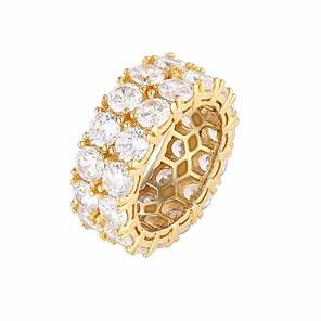 ieftine Inele-Bărbați Inel Zirconiu Cubic 1 buc Auriu Argintiu Articole de ceramică Ștras Rotund Stilat Lux European Nuntă Cadou Bijuterii Stl Prețios Cool