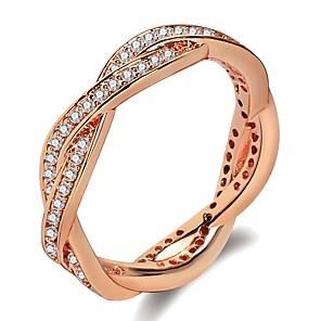 ieftine Inele-Pentru femei Band Ring Inel 1 buc Roz auriu Argintiu Alamă Placat cu platină Placat Cu Aur Roz femei La modă Modă Nuntă Zilnic Bijuterii Stl lasou Donuts Val Cool / Diamante Artificiale
