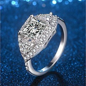 ieftine Ustensile & Gadget-uri de Copt-Pentru femei Inel de declarație Inel Micro inel de pavele 1 buc Argintiu Alamă Placat cu platină Diamante Artificiale Montaj de Patru femei Design Unic La modă Nuntă Petrecere Bijuterii Eliminat Stl