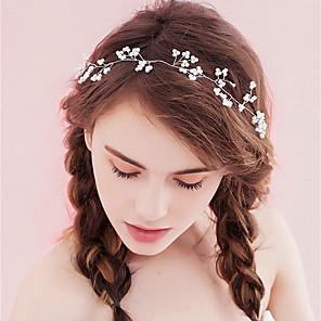 ieftine Bijuterii de Păr-Pentru femei Cordeluțe Pentru Petrecere Ceremonie În Cruce Cristal Material Textil Aliaj Alb