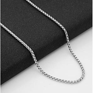 ieftine Coliere-Bărbați Lănțișoare Șuviță unică Baht Chain Mariner Chain European Oțel titan Argintiu 55 cm Coliere Bijuterii 1 buc Pentru Zilnic