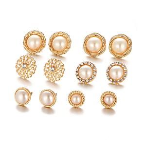 ieftine Cercei-Pentru femei Cercei Stud #D Floare femei Casual Lolita La modă Imitație de Perle cercei Bijuterii Auriu Pentru Cadou Zilnic 6 perechi