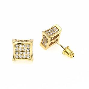 povoljno Naušnice-Muškarci Kubični Zirconia Sitne naušnice Sa stilom Kreativan dragocjen Stilski Europska pomodan Umjetno drago kamenje Naušnice Jewelry Zlato / Srebro Za Vjenčanje Maškare Zaručnička zabava Prom