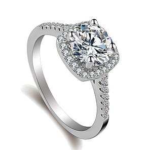 ieftine Inele-Pentru femei Inel Belle Ring Micro inel de pavele 1 buc Argintiu Alamă Placat cu platină Diamante Artificiale femei Corean Dulce Nuntă Logodnă Bijuterii Stl Solitaire Rundă Iubire Fericit Încântător