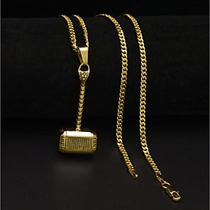 ieftine încărcător cu cablu-Bărbați Coliere cu Pandativ Lănțișoare Link cubanez Chainul gros Mini Ciocan Design Unic European Hip-Hop inox Auriu Argintiu 60 cm Coliere Bijuterii 1 buc Pentru Cadou Stradă