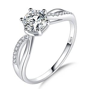 ieftine Inele-Pentru femei Inel 1 buc Auriu Argintiu Argint 2 Alamă Placat cu platină Diamante Artificiale Montaj de Șase femei Romantic Corean Nuntă Oficial Bijuterii Stl Solitaire HALO Iubire Bucurie Draguț