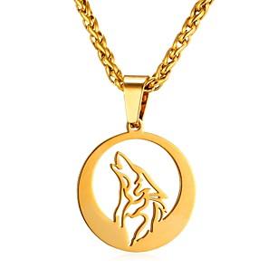 ieftine Coliere-Bărbați Coliere cu Pandativ Funie Animal Lup Modă Teak Auriu Argintiu 55 cm Coliere Bijuterii 1 buc Pentru Cadou Zilnic