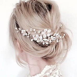 ieftine Bijuterii de Păr-Pentru femei Piepteni de Păr Pentru Petrecere Ceremonie Floare În Cruce Cristal Material Textil Aliaj Argintiu