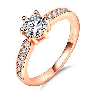ieftine Inele-Pentru femei Band Ring Inel Belle Ring 1 buc Roz auriu Alamă Placat Cu Aur Roz Diamante Artificiale Montaj de Șase femei Romantic Modă Nuntă Petrecere Bijuterii Stl simulat Prinţesă Norocos Draguț