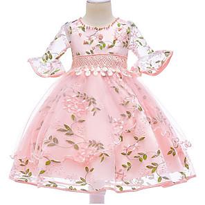 povoljno Muški satovi-Djeca Djevojčice Osnovni Dnevno Cvjetni print Rukava do lakta Haljina Blushing Pink