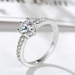 ieftine Inele-Pentru femei Inel Belle Ring 1 buc Argintiu Alamă Placat cu platină Diamante Artificiale Montaj de Șase femei Design Unic Elegant Nuntă Oficial Bijuterii Stl Solitaire HALO Prețios Draguț