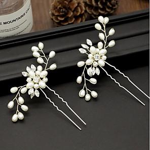 ieftine Colier la Modă-Pentru femei Bețe de Păr Pentru Petrecere Ceremonie În Cruce Cristal Material Textil Aliaj Auriu Argintiu