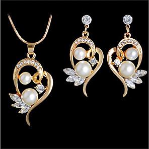 ieftine Cercei-Pentru femei Apă dulce Pearl Coliere cu Pandativ Cercei Inimă Hollow Heart femei Romantic Casual / sportiv Modă Elegant cercei Bijuterii Auriu / Argintiu Pentru Nuntă Cadou Mascaradă Petrecere