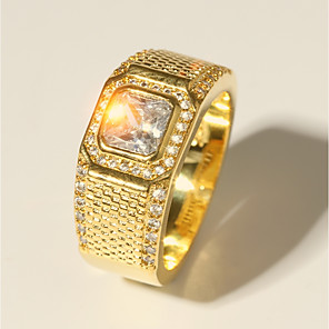 ieftine Inele-Bărbați Inel 1 buc Auriu Alamă Diamante Artificiale 24K Gold Plated Lux Clasic Modă Nuntă Serată Bijuterii Clasic Stl Radiant Cut Prețios Cool