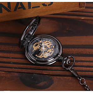 hesapli Lüks Saatler-Erkek İskelet Saat Cep kol saati Otomatik kendi hareketli Lüks Derin Oyma Siyah Analog - Siyah / Steampunk