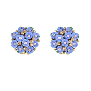 ieftine Brățări-Pentru femei Cristal Cercei Stud Stl Floare Norocos femei De Bază Modă cercei Bijuterii Alb / Albastru / Roz Pentru Zilnic Dată 1 Pair