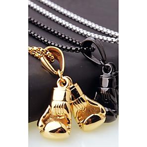 ieftine Coliere-Bărbați Lănțișoare Charm Colier Stl Foxtail lanț Manusi de box European Casual / sportiv Modă inox Auriu Negru Argintiu 45 cm Coliere Bijuterii 1 buc Pentru Cadou Stradă
