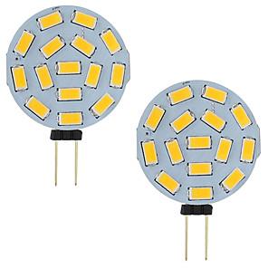 ieftine Becuri LED Bi-pin-3w led g4 masina de agrement auto rv 15 leds 5730 smd rundă gamă 120 de grade ac / dc 12v - 24v rece / cald alb (2 buc)