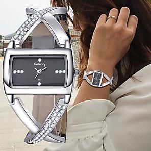 ieftine Cercei-Pentru femei Ceas Brățară Ceas de Mână Diamond Watch Quartz Piele Negru / Alb Cronograf Creative Model nou Analog femei Atârnat Elegant - Alb Negru Un an Durată de Viaţă Baterie / SSUO 377