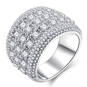 ieftine Inele-Pentru femei Inel Micro inel de pavele 1 buc Argintiu Articole de ceramică Placat cu platină Diamante Artificiale femei Clasic Hiperbolă Nuntă Petrecere Bijuterii Stl HALO pava Αστέρι Gypsophila