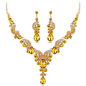 ieftine Protectoare Ecran de iPhone 6s / 6-Pentru femei Safir citrin Cercei Picătură Coliere Lung femei Design Unic Elegant Indian extravagant Ștras Argilă cercei Bijuterii Auriu / Argintiu / Rosu Pentru Nuntă Serată