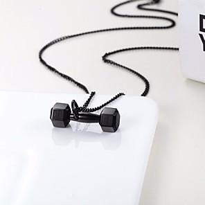 ieftine Coliere-Bărbați Coliere cu Pandativ Lănțișoare ID Răsucit Halteră Stilat Stil Atârnat La modă Oțel titan Negru Argintiu Roz auriu 50 cm Coliere Bijuterii 1 buc Pentru Cadou Stradă