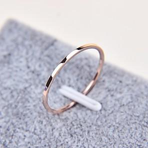 Недорогие Чехлы и кейсы для Galaxy S3-Для пары Кольцо кольцо для большого пальца 1шт Розовое золото Титановая сталь Круглый Дамы Простой Классический Повседневные Школа Бижутерия Классический Стильные Милый