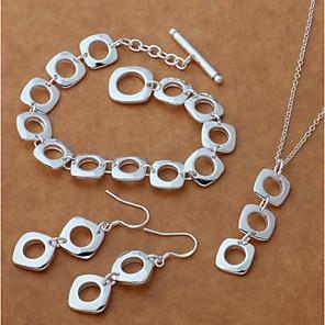 ieftine Seturi de Bijuterii-Pentru femei Cercei Picătură Coliere cu Pandativ Silver Bracelets Stl Urmă Creative femei Stilat Simplu Elegant S925 Sterling Silver cercei Bijuterii Argintiu Pentru Cadou Dată