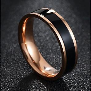 ieftine Inele-Pentru cupluri Inele Cuplu Band Ring 1 buc Negru Alb Oțel titan Rotund femei Stilat Simplu Zilnic Dată Bijuterii Clasic Două-Tonuri Creative