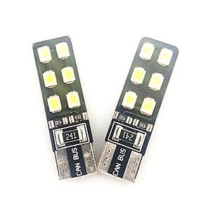 ieftine Lumini de Interior Mașină-2pcs 6w 2835 12smd led lumina de masina de interior a condus t10 alb culoare ușoară