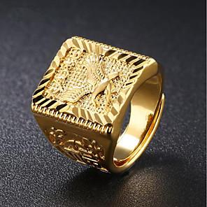 ieftine Coliere-Bărbați Inel sigiliu Auriu 18K Placat cu Aur Pătrat Geometric Shape Șic Stradă Hip Hop Zilnic Serată Bijuterii Stl Gravat Vultur Punk