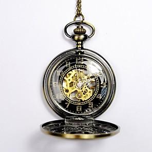 ieftine Machiaj Halloween-Bărbați Ceas Schelet Ceas de buzunar Mecanism automat Auriu Gravură scobită Ceas Casual Schelet Analog Schelet Modă Steampunk Aristo - Auriu