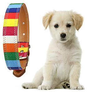 ieftine Câini Gulere, hamuri și Curelușe-Câini Gulere Ajustabile Curcubeu Poliester Curcubeu