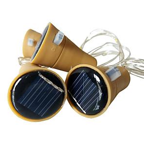 baratos Fitas e Mangueiras de LED-3 pcs 10led 1 m rolha de garrafa de vinho solar cobre fio de fada de tira decoração da festa ao ar livre novidade noite lâmpada diy
