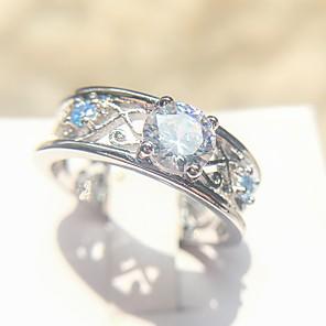 billige Tegne- og skriveredskaber-Dame Band Ring Ring 1pc Sølv Plastik Platin Belagt Simuleret diamant Firekantet symbol Damer Mode Elegant Bryllup Daglig Smykker Totem Serier Sej