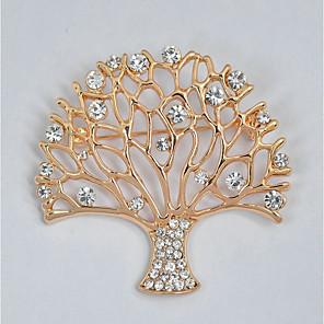 ieftine Încărcătoare Auto-Pentru femei Broșe Copacul Vieții viață copac femei Stilat Clasic Ștras Broșă Bijuterii Auriu Pentru Zilnic