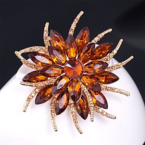 cheap Brooches-Women's Citrine Brooches Layered 3D Flower Ladies Vintage Colorful Rhinestone Gold Plated Brooch Jewelry Rainbow White Champagne For Evening Party Festival