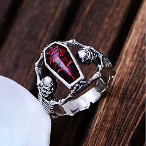 ieftine Inele-Bărbați Inel de declarație 1 buc Rosu Articole de ceramică Argilă Declarație Punk Carnaval Profesional Bijuterii Retro Mexican Sugar Craniu craniu schelet