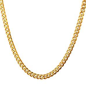 ieftine Coliere-Bărbați Lănțișoare Curb chain Modă Teak Negru Auriu Argintiu 55 cm Coliere Bijuterii 1 buc Pentru Cadou Casual Stradă
