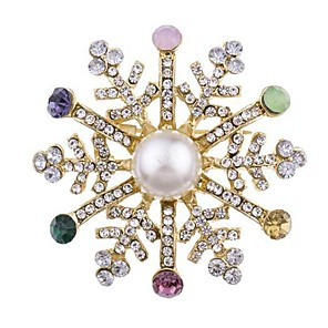 cheap Brooches-Women's Brooches Classic Snowflake Ladies Classic Rhinestone Brooch Jewelry Gold For Christmas Cosplay Costumes