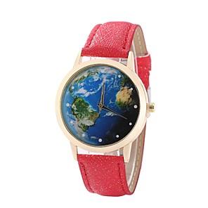ieftine Baze de Lampe-Pentru femei Ceas Elegant Ceas de Mână Harta lumii Quartz Piele PU Matlasată Negru / Alb / Albastru Model nou Ceas Casual Analog femei Casual World Map Pattern - Rosu Albastru Roz Un an Durată de