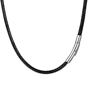 ieftine Ceasuri Damă-Bărbați Lănțișor Împletit Modă Teak Piele Negru 55 cm Coliere Bijuterii 1 buc Pentru Cadou Zilnic