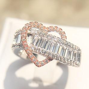ieftine Inele-Pentru femei Inel Eternity Ring 1 buc Argintiu Articole de ceramică Placat cu platină Diamante Artificiale femei Princess Lolita Romantic Nuntă Cadou Bijuterii Clasic Inimă Iubire Heart