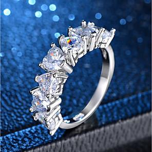 ieftine Inele-Pentru femei Inel Eternity Ring 1 buc Argintiu Articole de ceramică Placat cu platină Diamante Artificiale femei Clasic Romantic Nuntă Petrecere Bijuterii Clasic Inimă Iubire Heart