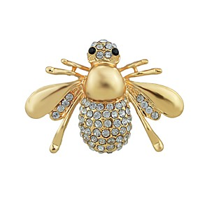 cheap Brooches-Women's Synthetic Tourmaline Brooches Stylish Bee Lucky Ladies Stylish Basic Brooch Jewelry Gold For Gift Daily