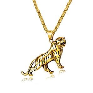 ieftine Coliere-Bărbați Coliere cu Pandativ Stl lanțul franco Tigru Modă Oțel titan Auriu Argintiu 55 cm Coliere Bijuterii 1set Pentru Cadou Zilnic
