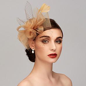 ieftine Bijuterii de Păr-Pană / Net Kentucky Derby Hat / Palarioare / Accesoriu de Păr cu Pene / Floral / Flori 1 buc Nuntă / Ocazie specială / Petrecere ceai Diadema