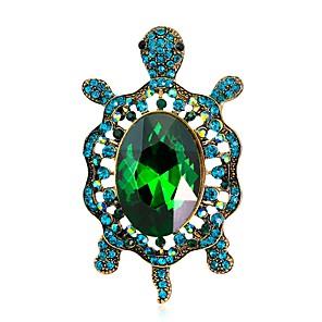 povoljno Broševi-Žene Broševi Vintage Style Kornjača Sa životinjama dame Jedinstven dizajn Vintage Umjetno drago kamenje Pozlaćeni Broš Jewelry Zelen Plava Za Večer stranka Ulica